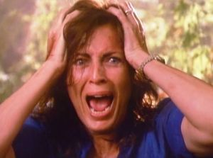 Joanna Cassidy realizing she is in 2 movies in this collection.