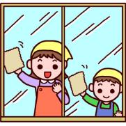窓掃除をするお母さんと男の子のイラスト