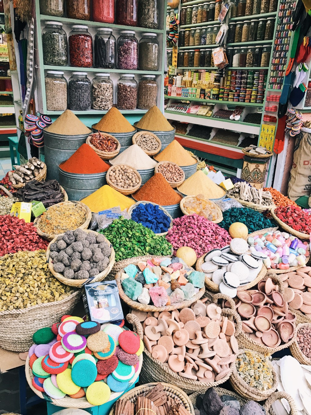 The spices of Morocco in the Souks. Look for this shop, one of few with an owner that is sincere. He will not rip you off.