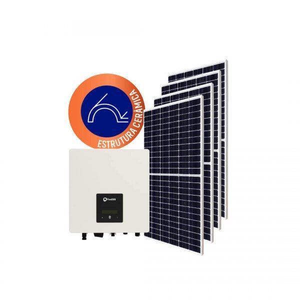 Inversor solar fotovoltaico FoxESS Monitoramento Wifi FoxESS Modulo fotovoltaico SUNOVA Stringbox Clamper Estrutura Solar Group Cerâmica