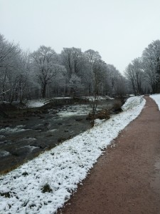 Snowy pathway along river - Freiburg