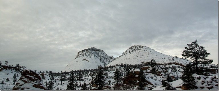 Snow on mesas Zion National Park SR9 west Utah
