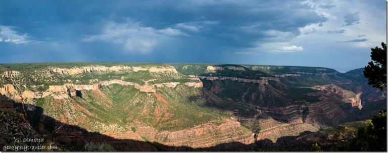 Stormy skies Rainbow Rim points & Muave Saddle SE-S view Crazy Jug Point Kaibab National Forest Arizona