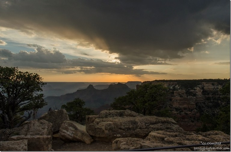 Crepscular rays sunset Cape Royal North Rim Grand Canyon National Park Arizona