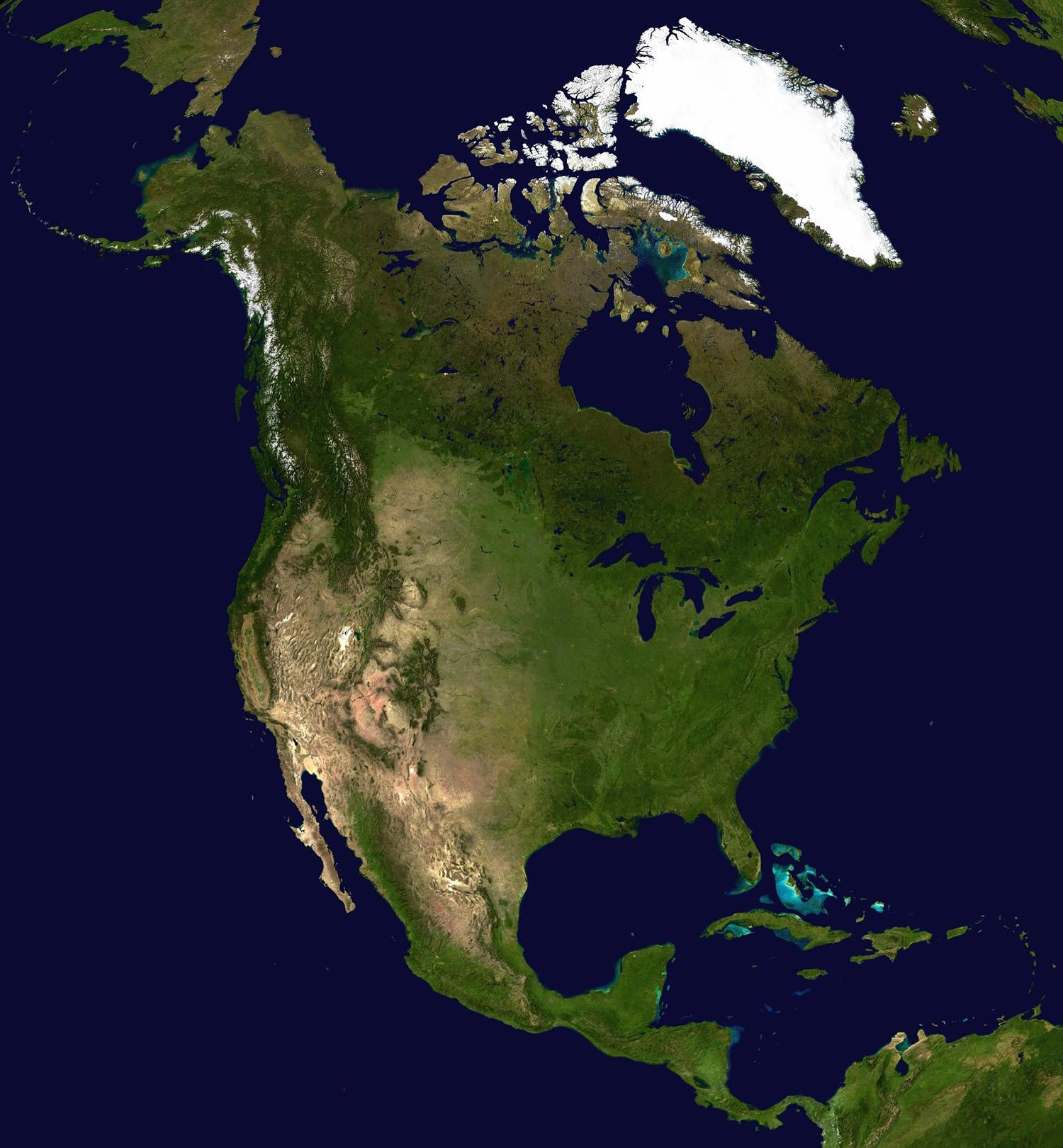 North America Map and Satellite Image North America Satellite Image