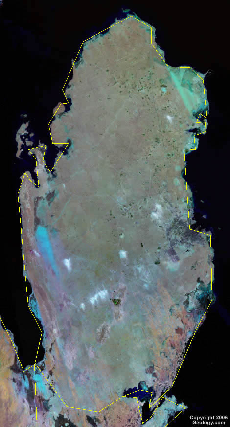 Qatar Map and Satellite Image Qatar satellite photo