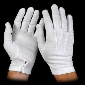 White Cotton Snap Wrist Gloves
