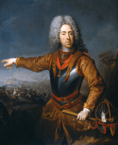 Prince Eugene direction his troops in battle, with spyglass in hand.