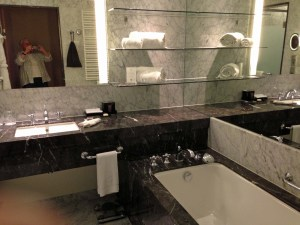 The amazing bathroom, all chrome, marble and mirrors.