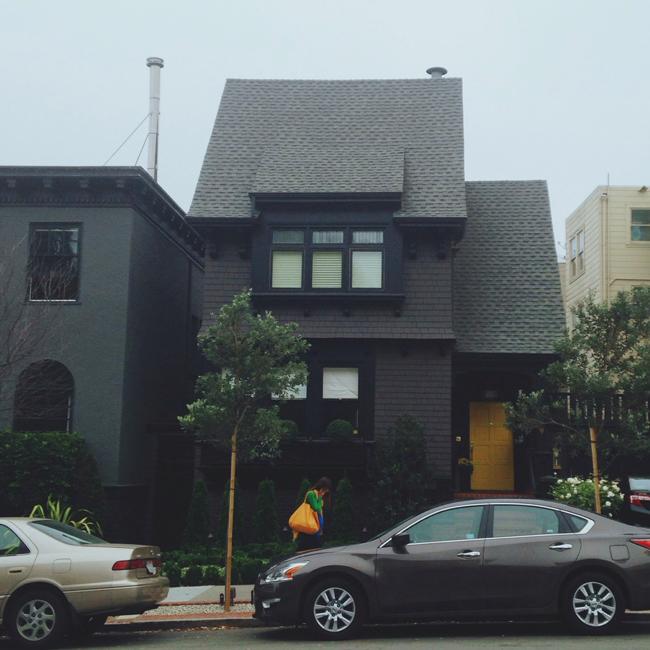 dark home with bright door
