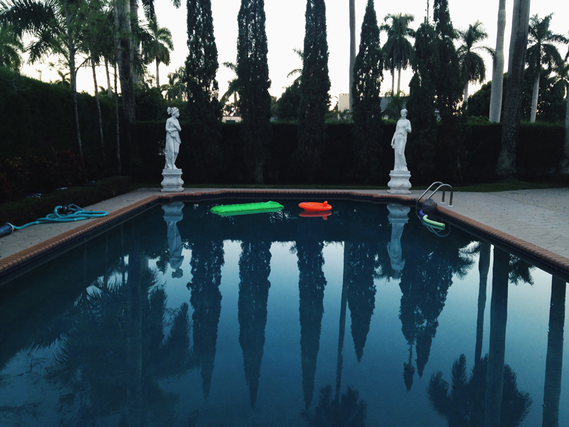 pool floaties with classical greek influence