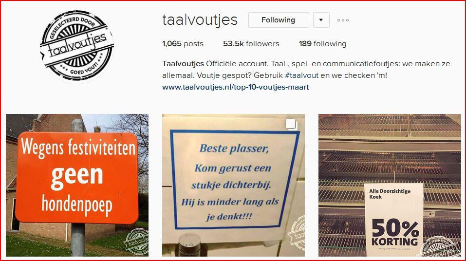 Instagram Taalvoutjes