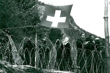 Ikone der schweizerischen Flüchtlingsabwehr während des Zweiten Weltkriegs; Quelle: Werner Rings, Die Schweiz im Krieg, 1974