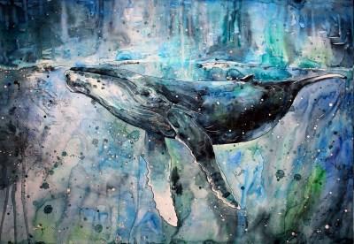 Wallpaper : 3129x2163 px, animals, artwork, paint splatter, painting, watercolor, whale ...
