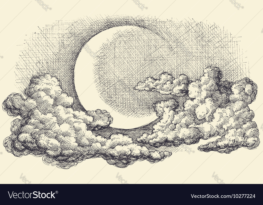 Moon Drawing at GetDrawings com   Free for personal use Moon Drawing     1000x780 Night sky moon in the clouds hand drawing  Download a Free Preview
