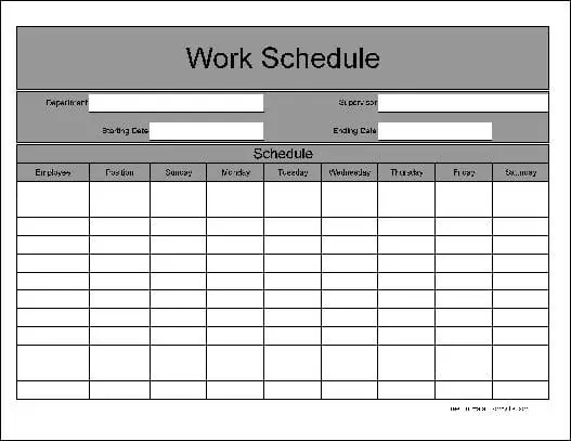 daily work schedule template 222