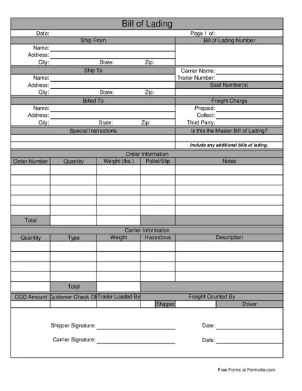 bill of lading template 7544
