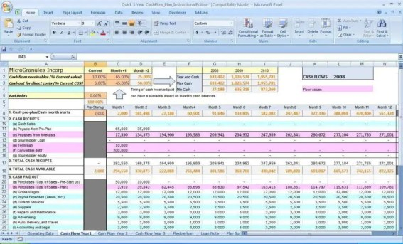 cash flow excel template 444