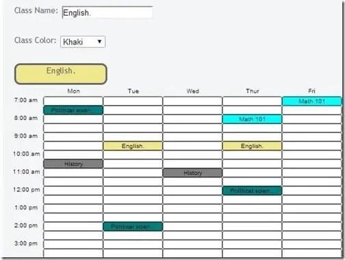 class schedule template 555