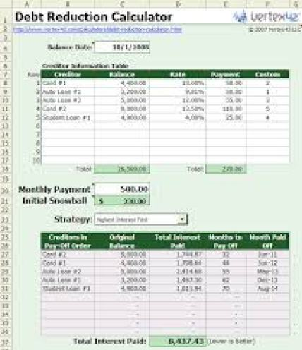 debt calculator template 1542