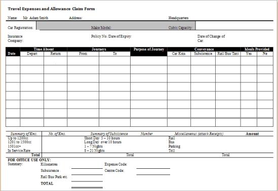 expense claim form template 4551