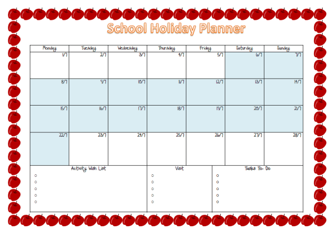 holiday planner template 7915