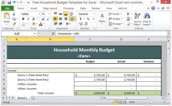 house hold budget spreadsheet template 777