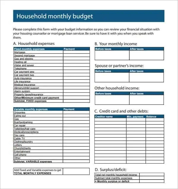 house hold budget spreadsheet template 888