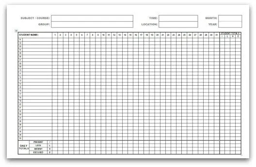 9 Monthly Attendance Sheet Templates – Attendance Register Sample