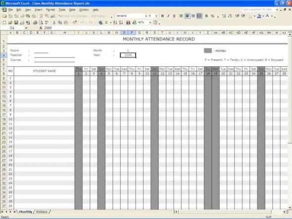 monthly attendance sheet template 888