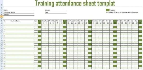 monthly attendance sheet template 999