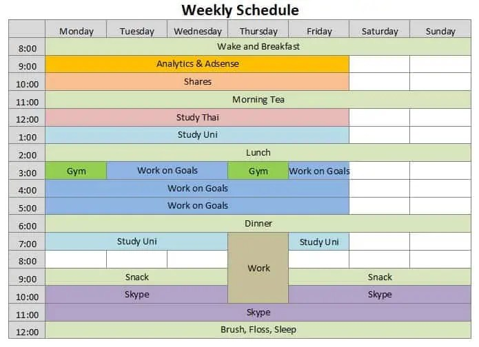 weekly schedule template 888