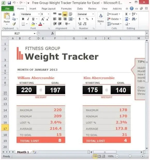 weight loss challange spreadsheet template 111