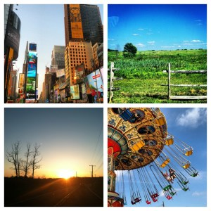 The Sky's The Limit! If you know me, you know I love taking pictures, especially of sunset and landscapes. Here are a few of my favorites from 2012: Top Left: Times Square while walking to Sweet Suite at BlogHer. Top Right: Open field on my way to the mall. Bottom Left: Sunset on my drive home. Bottom Right: My daughter and friend swinging high above Point Pleasant.