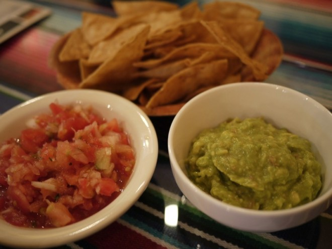 Homemade chips, salsa and guacamole