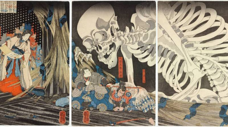 Triptych of Takiyasha the Witch and the Skeleton Spectre, c.1844, Utagawa Kuniyoshi