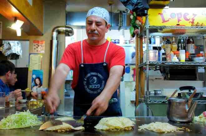 Fernando Lopez, okonomiyaki chef in Hiroshima, Japan