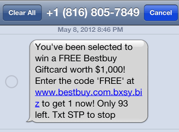 Bxsy.biz Best Buy Giftcard Spam Text   Scam Alert