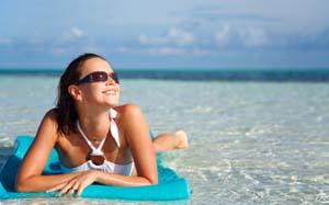 woman on raft