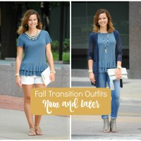 Fall Transition Outfits:  Peplum Tee Now and Later