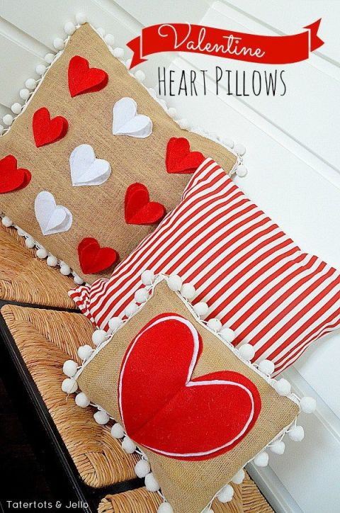 This blogger made these Valentine's Day pillow covers using pillows she already had. (Talk about budget-friendly!) This DIY requires a bit of work, and some sewing know-how, but that red and white pop-out heart pillow is more than worth it. Get the tutorial at Tater Tots and Jello »