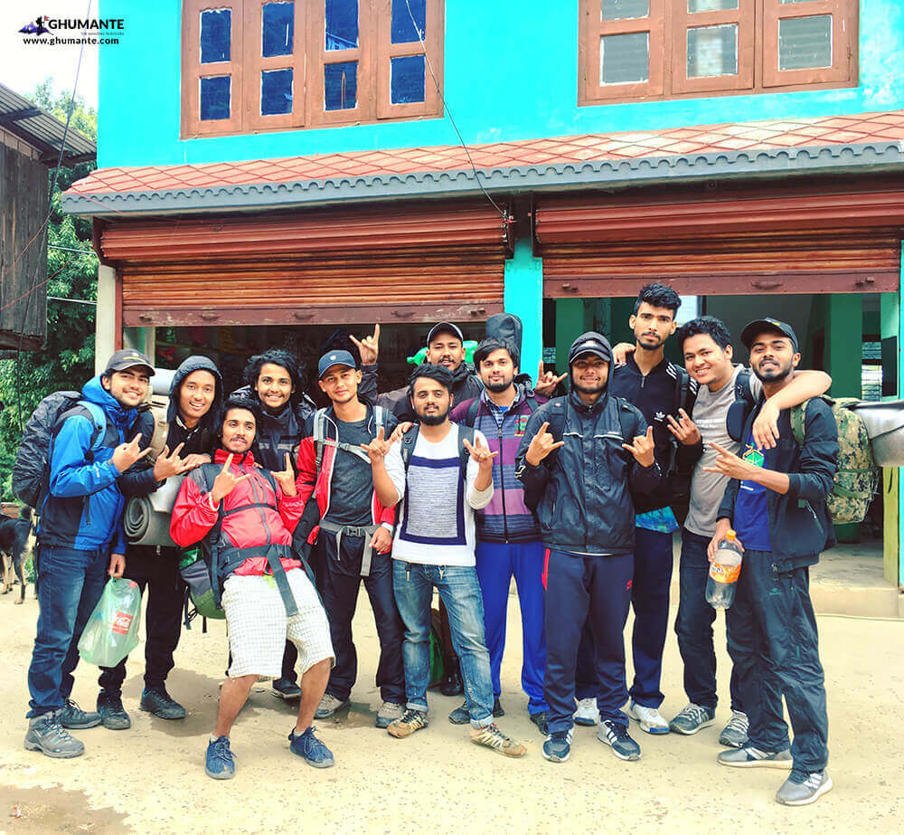 Pumped Hikers Squad after a good lunch at Dhunghakharka!