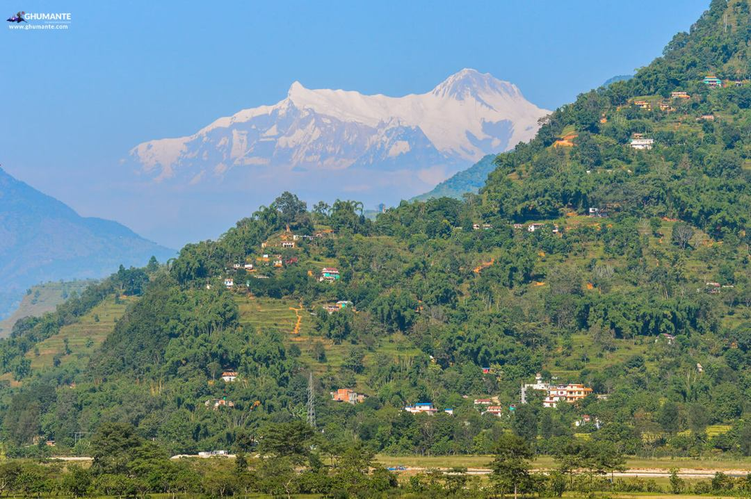 one of the village of waling with the Annapurna II & IV as seen in backdrop