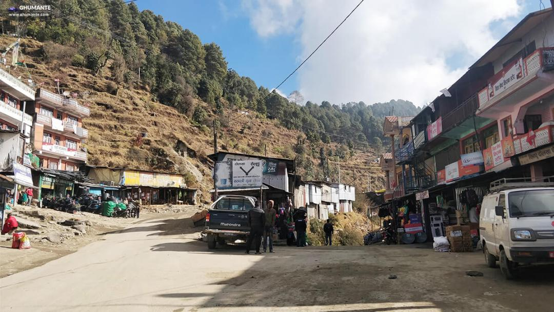 Mude Bajaar, Sindhupalchowk ! We have to go right for Shailung and left for Charikot from here