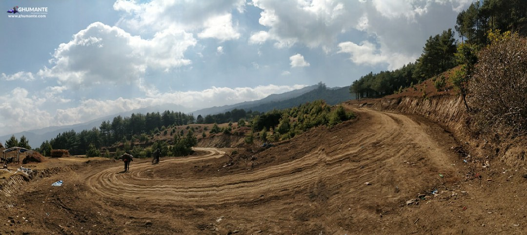 Under construction motor roads upto Shailung via Dhungey connecting top from Mude.