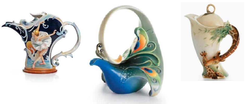 Beautiful Franz Porcelain Teapots