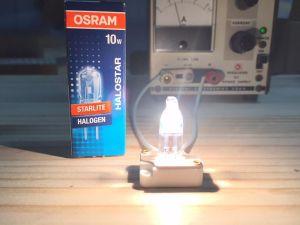 GIGASTAR®の星の色の基準になる「標準光源」 三菱製の10Wハロゲンランプです。 これから24時間、12Vで点灯を行ってから、測定を依頼します。
