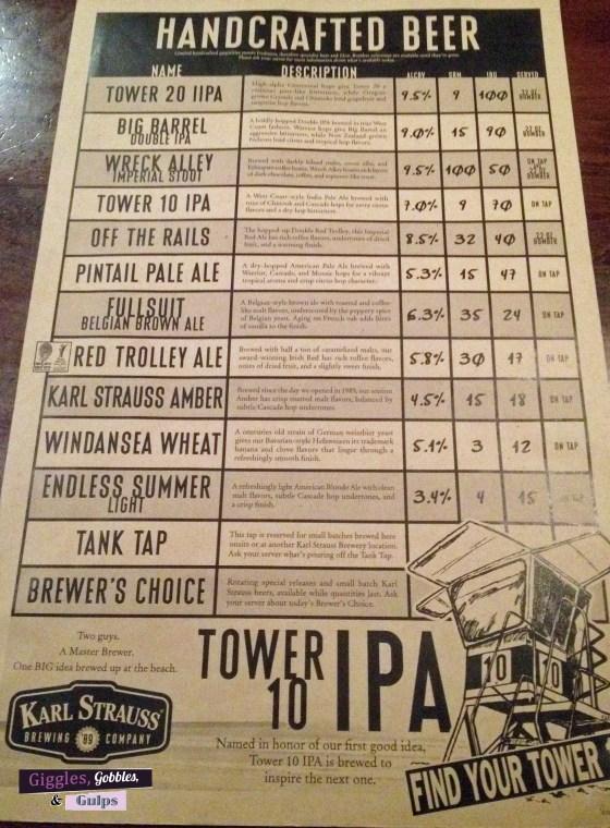 karl strauss beer menu