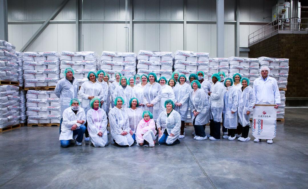 The #NYSDairyTour2014 group at the Cayuga Milk Ingredients Plant.