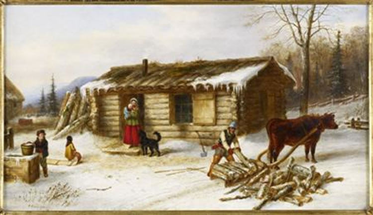 'Chopping_Logs_Outside_a_Snow_Covered_Log_Cabin',_oil_painting_by_Cornelius_Krieghoff